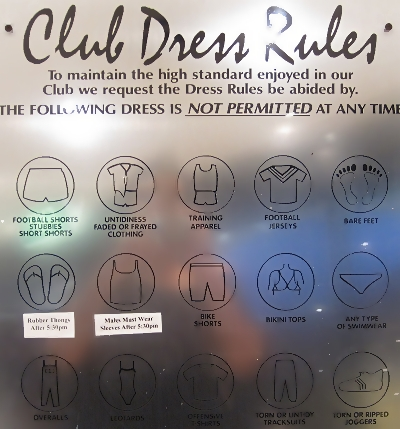 Dress code at Kurrawa Surf Club in Gold Coast, Queensland, Australia