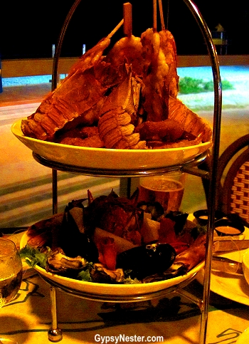 Tower of delicious seafood at Kurrawa Surf Club, Gold Coast, Queensland, Australia