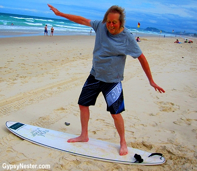 David takes surf lessons on Kurrawa Beach, Gold Coast, Queensland, Australia