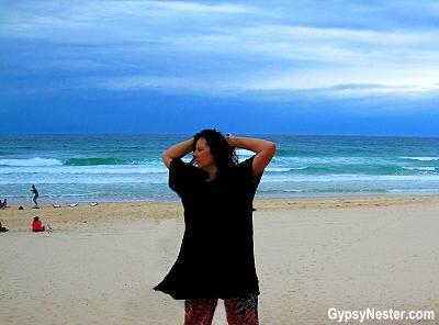 Veronica is wearing her Kaf. Tanned at Kurrawa Beach in Gold Coast, Queensland, Australia