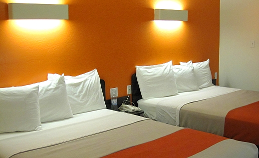 Our cute orange room at Motel 6!
