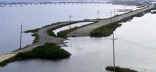 Road through the salt marsh toward Grand Isle