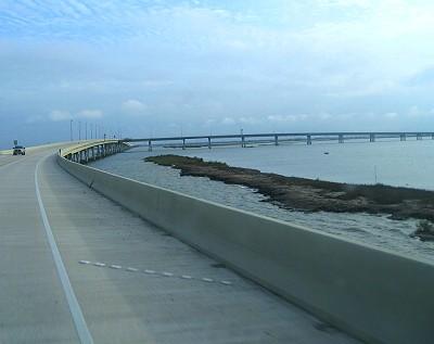 Bridge through the salt marsh toward Grand Isle