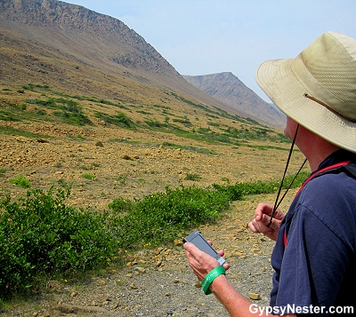 Using the GPS system at The Tablelands at Gros Morne in Newfoundland