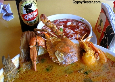 Tapado seafood soup in Livingston, Guatemala