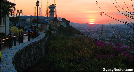 Sunset from the top of Santa Ana, Guayaquil, Ecuador