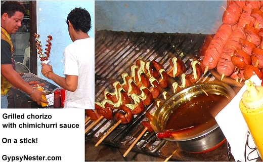 Chorizo with Chimichurri sauce on a stick!