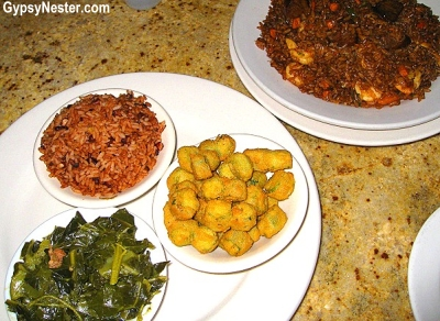 Gullah food: Hoppin' John, rice, okra, and greens