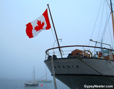 A foggy day on the waterfront in Halifax, Nova Scotia, Canada