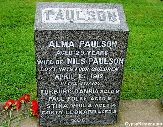 The grave of Alma Paulson and her four children at the Titanic cemetery in Halifax, Nova Scotia, Canada