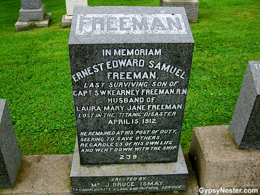 The grave of Ernest Edward Samuel at the Titanic cemetery in Halifax, Nova Scotia, Canada