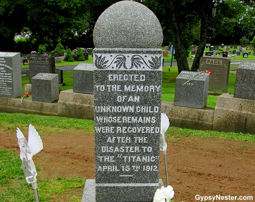 Grave of the Unknown Child at the Titanic cemetery in Halifax, Nova Scotia, Canada