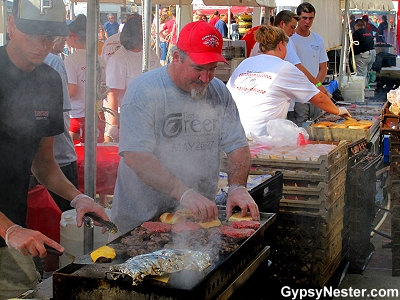 Cooking Burgers at the Hamburger Festival in Akron Ohio