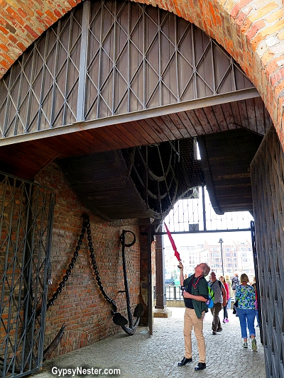 The human driven crane in Gdansk, Poland