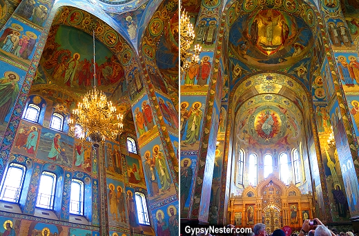 The interior of The Church of Our Savior on Spilled Blood in St. Petersburg, Russia is completely covered in mosiac tiles