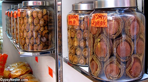 Beautiful jars of abalone at Dried Seafood Street in Hong Kong
