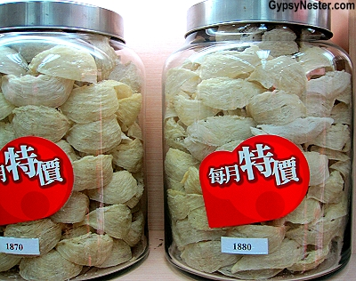 Jars of Birds Nests on Tonic Food Street, Hong Kong