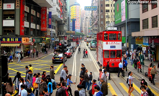 Street scene from a ding ding in Hong Kong