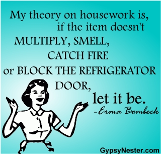 My theory on housework is, if the item doesn't multiply, smell, catch fire, or block the refrigerator door, let it be. Erma Bombeck