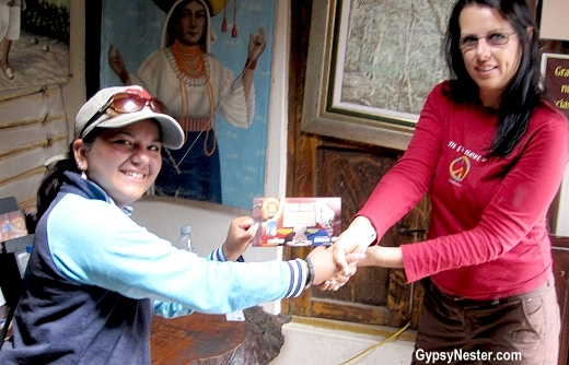 Veronica receives her award for balancing an egg on the head of a nail at the Intianan Museum!