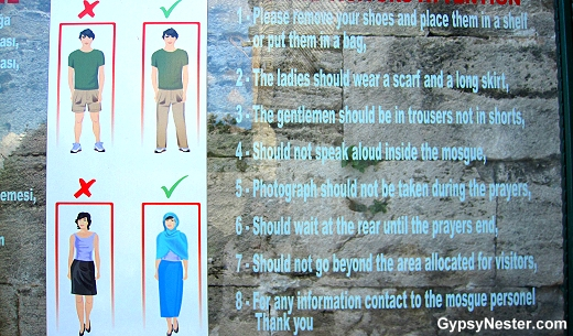 The dress code for visiting The Blue Mosque in Istanbul, Turkey