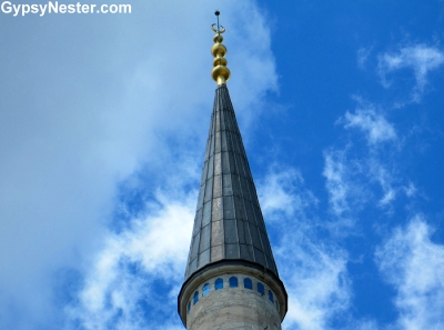 The top of a minaret of The Blue Mosque in Istanbul, Turkey