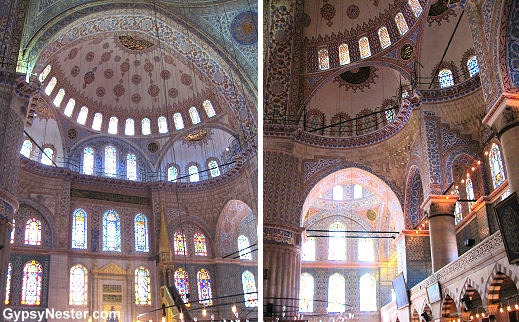 The interior of The Blue Mosque in Istanbul, Turkey