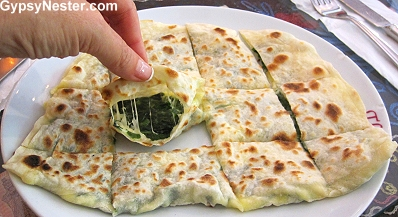 Spinach and feta gözleme in Istanbul, Turkey