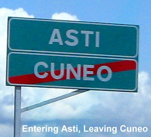 Entering Asti, Leaving Cuneo