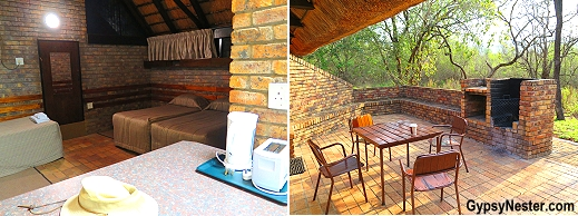 Our cabin and patio at Berg-En-Dal camp in Kruger National Park, South Africa
