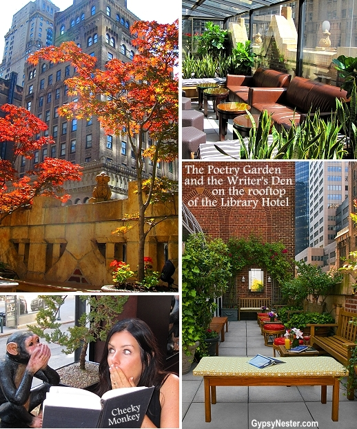 Writer's Den and Poetry Garden on the rooftop of the Library Hotel in NYC. At night, the rooftop transforms into Bookmark's Lounge