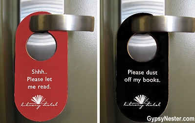Do not disturb door hangers at the Library Hotel, Manhattan, NYC