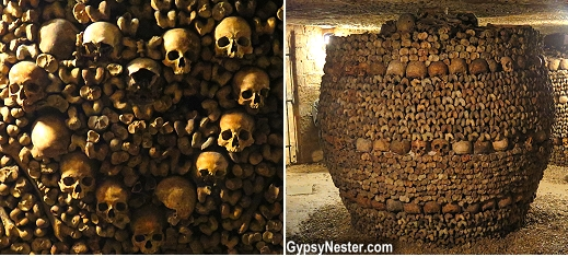 Bones are stacked in a decorative manner at the underground catacombs in Paris, France