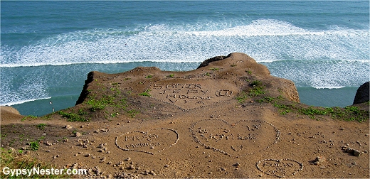 Love tributes spelled out in rocks along the cliffs of Lima Peru