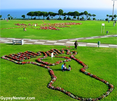 Nazca Lines drawn out in flowers in Lima Peru