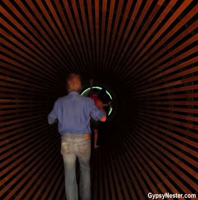 The magical tunnel that shrunk us down to size at the Leprechan Museum in Dublin, Ireland