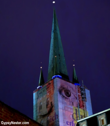 An eye on a tower in Lubeck, Germany