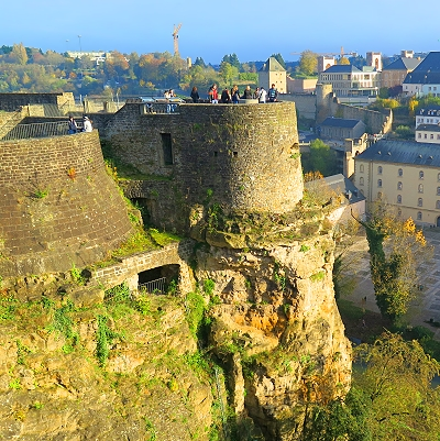 This walkway was built atop the ramparts on the massive cliffs of the Alzette valley in Luxembourg