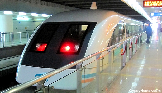 The fastest train in the world, the Maglev levitating train in Shanghai, China