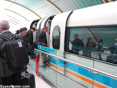 Boarding the Maglev in Shanghai, China