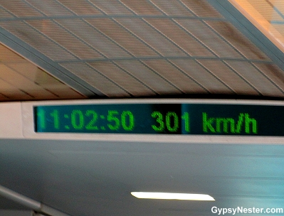 A digital readout allows you to see how fast you are going on the Maglev in China