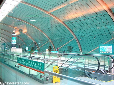 The TransRapid Station in Shanghai, China to catch the Maglev train