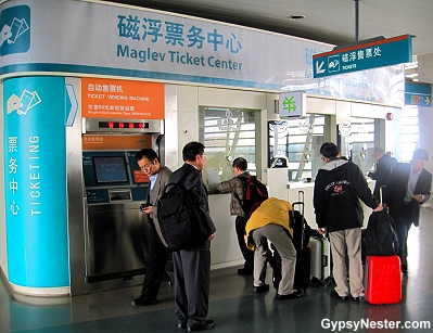 Getting tickets for the Maglev in Shanghai, China