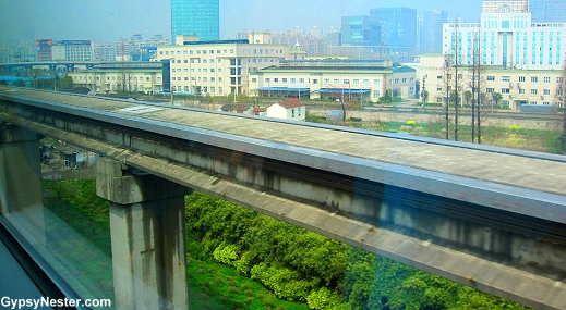 The track of the Maglev train in Shanghai, China