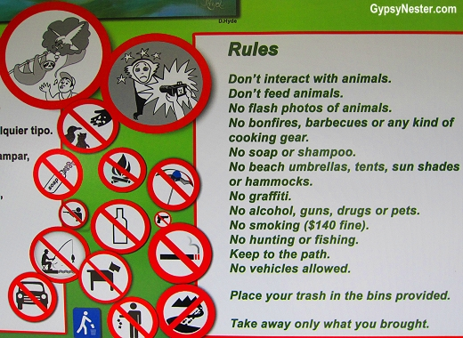 The rules for interacting with animals at Manuel Antonio National Park in Coasta Rica