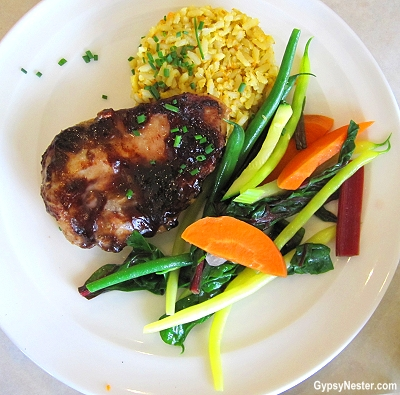 Blueberry bbq chicken at Between the Bushes in Nova Scotia