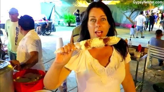 Elote from a street vendor in Cancun