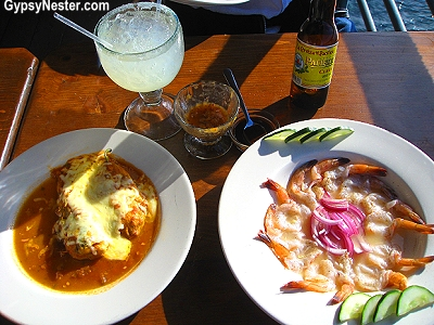 Chili relleno and Mexican shrimp cocktail at the Point restaurant in Rocky Point Mexico