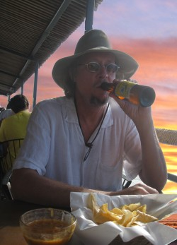 David enjoys a sunset beer in Rocky Point, Mexico