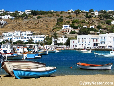 The beach in the town of Mykonos, Greece
